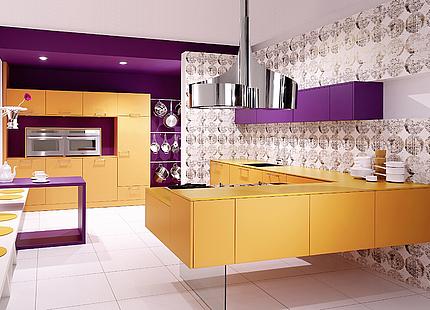 Küche mit violetten Akzenten von KH System Möbel