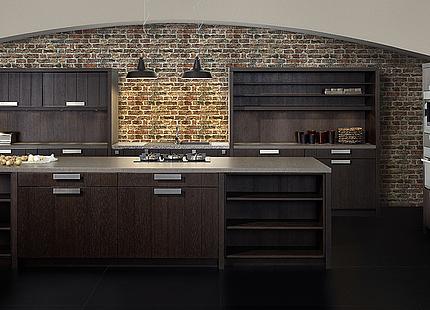 Küche mit dunklen Eichefronten von KH System Möbel