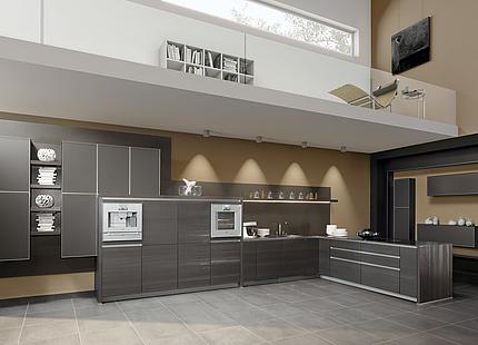 Graue zeyko-Küche mit Strukturfronten