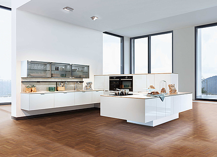 zeyko Küche Riva in Weiß mit großer Insel
